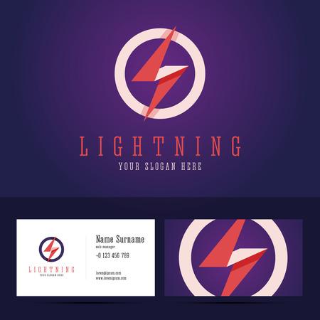energia electrica: insignia del relámpago y la plantilla de tarjeta de visita. estilo plano con efectos superpuestos. Ilustración del vector para proyectos de impresión o en la web. Vectores