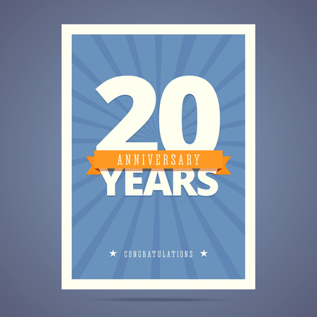 20th: 20 year anniversary card, poster template.