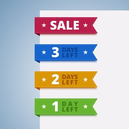 etiquetas de color de papel para la venta. 1, 2, 3 días que salió a la venta.