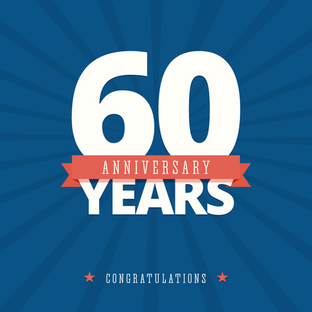 age 60: 60 year anniversary card, poster template. Illustration