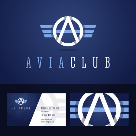 air force: Avia club icon and business card template. Line style with overlapping effect. Illustration