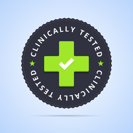 clinically: Clinically tested stamp. illustration with clinic cross sign. Illustration