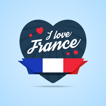 badge with ribbon: I love France badge. Heart shape with ribbon with France flag. illustration in flat style.