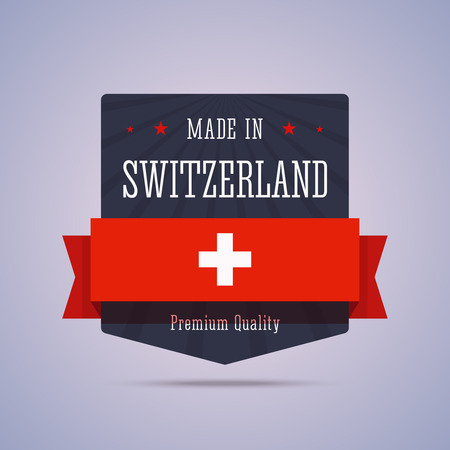 made manufacture manufactured: Made in Switzerland badge Illustration