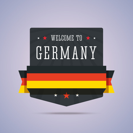 travel star: Welcome to Germany badge with national flag. Vector illustration in flat style.