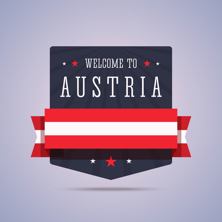 austria: Welcome to Austria badge with national flag. Vector illustration in flat style.