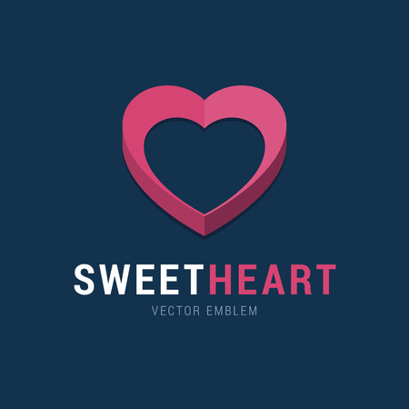 sweet heart: Sweet Heart emblem with 3d effect. Pink heart logo in flat simple style. Vector illustration for social network, medical clinic and others.