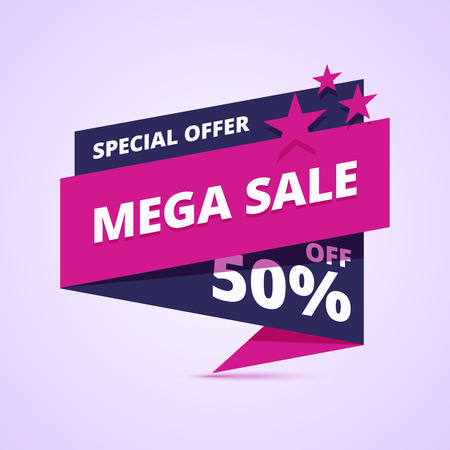 mega sale: Mega sale banner, special offer badge, 50 percent off. Vector illustration in flat,  abstract geometric style.