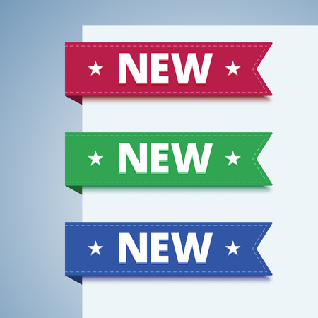 red green: New paper label in flat style. Set of paper bookmarks in red, green and blue colors. Vector illustration.