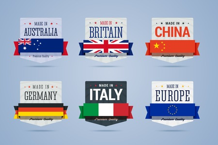 made in china: Made in badges set. Australia, Britain, China, Germany, Italy and Europe emblems. Vector illustration in flat style.