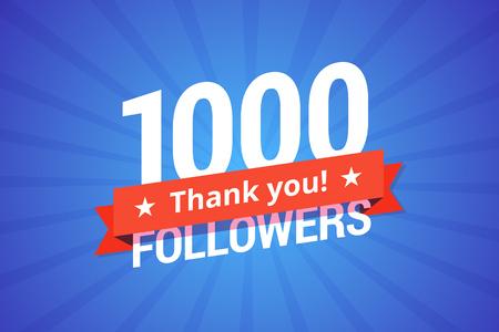 1000 followers vector illustration. Greeting card for social networks. 版權商用圖片 - 70363587