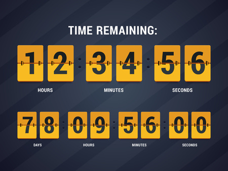 time remaining: Time remaining illustration. Countdown mechanical clock in flat style. illustration. Illustration
