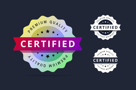 Certified stamp. Premium quality badge. Vector illustration for print or web projects.