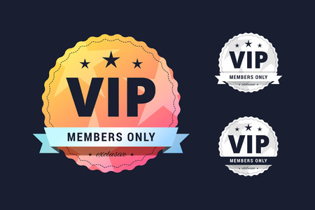 badge with ribbon: Vip club badge. Members only sign in three different styles for casion, poker club and other. Illustration
