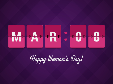 happy woman: Happy Womans Day. Mechanical scoreboard with March 8 date. Vector illustration in flat style. Illustration