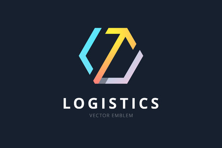Vector logo for logistic company. Hexagon sign with arrow, color gradient style.