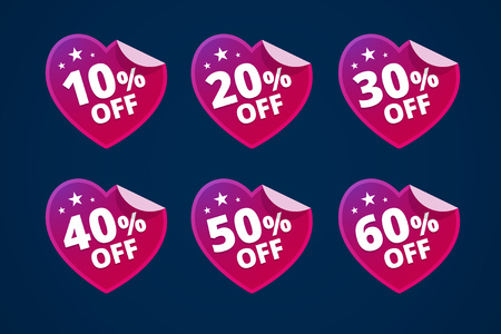 retail sales: Discount illustration made with paper hearts.