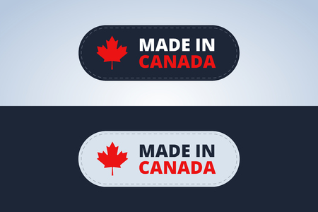 canadian flag: Made in Canada badge, stamp for Canada products. Vector illustration.