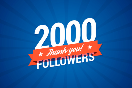 2000 volgers kaart voor het vieren van veel volgelingen in sociale netwerken. Stock Illustratie