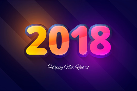 calendar design: Happy New Year 2018. Vector template for new year calendar. Illustration