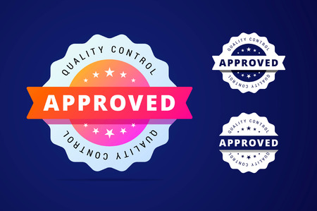 seal of approval: Approved stamp with three color variants - colorfull and simple