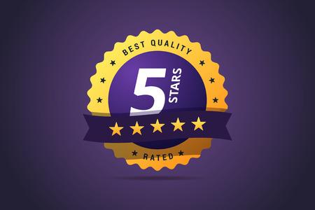 five stars: Five stars rating round medal. Illustration