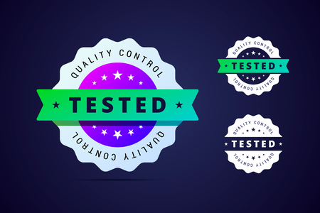 Quality control, tested stamp for product or software. Vector label in gradient style.
