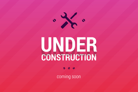 Under construction with coming soon label. Ilustracja