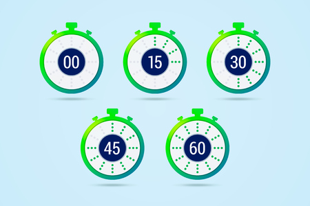 Timer icons with color gradation and numbers in flat style
