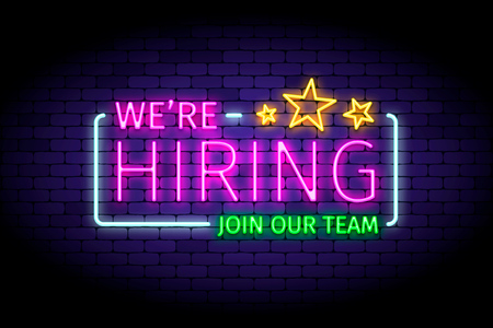 We are hiring vector illustration in realistic neon style Ilustração