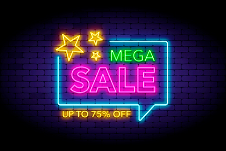 Mega sale illustration in neon style. Neon stars and letters on the wall. Vector illustration for web or print adverts for sale and special offers.