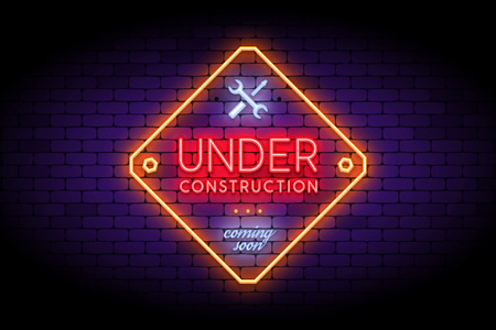 Under Construction sign in trendy neon style on the brick wall. Realistic neon effect for temporary site page. Vector illustration.