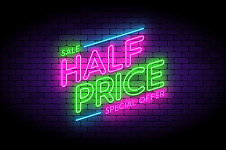 Half price, sale, premium offer neon sign on the wall. Vettoriali