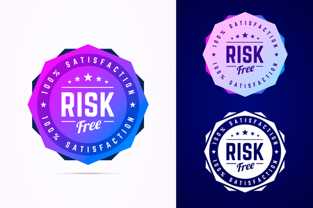 Risk free round badge. Vector sign in trendy gradient style. Çizim