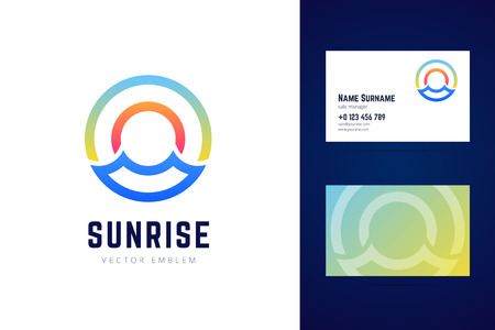 Sunrise logo and business card template. Sea waves, sun and sky