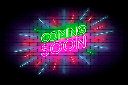 Coming soon with rays neon sign. Realistic bright neon effect on a brick wall. Vector banner for web or print.