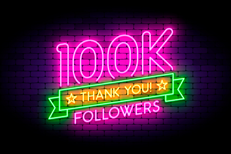 100k, 100000 followers realistic neon sign on the wall. 版權商用圖片