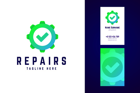 Repair logo and business card template. Gear sign with check mar 向量圖像