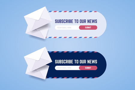 Subscribe to newsletter form for web and mobile applications in two styles with envelopes. Vector illustration for new subcribers. Vettoriali