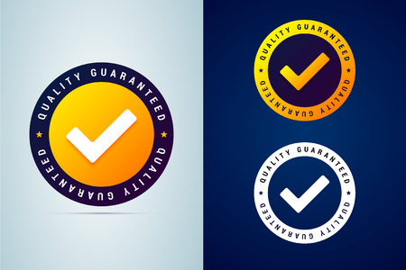 Quality guaranteed - tested badge. Vector illustration with chec