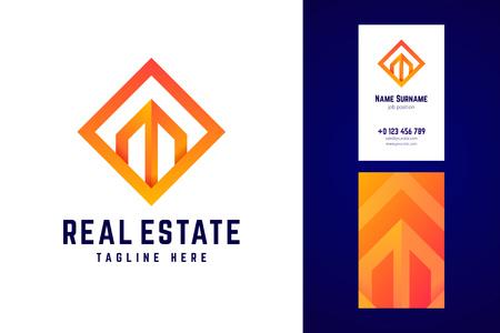 Real estate logo and business card template. Banco de Imagens - 110169611