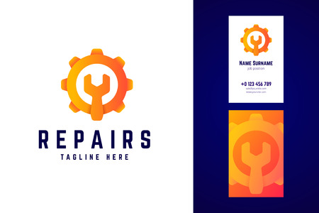Repair logo and business card template. Gear sign with wrench.