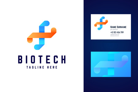 Biotechnology dna logo and business card template.