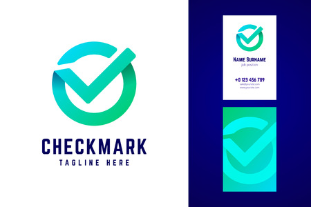 Check mark logo and business card template in gradient style.
