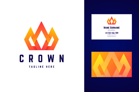 Crown, royal logo and business card template. 스톡 콘텐츠