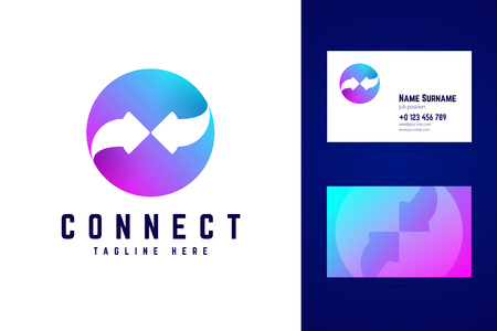 Connect logo and business card template. Two arrows on gradient