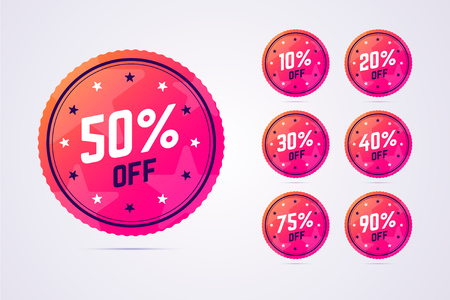 Set of sale badges in modern, gradient style. Çizim