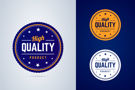 High quality product badge. Vector label in three colors. Çizim