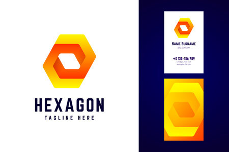 Impossible hexagon logo and business card template.
