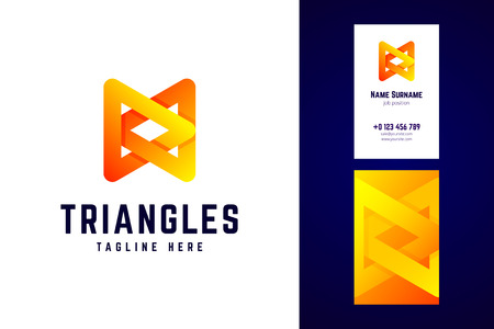 Triangles logo and business card template. Vector logotype in mo Çizim